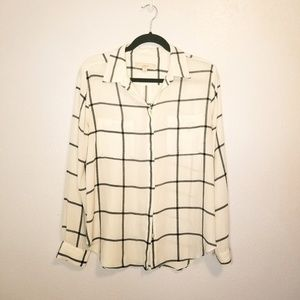 LOFT grey and white button up shirt